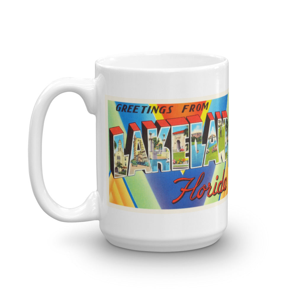 Mug – Lakeland FL Greetings From Florida Big Large Letter Postcard Retro Travel Gift Souvenir Coffee or Tea Cup - American Yesteryear