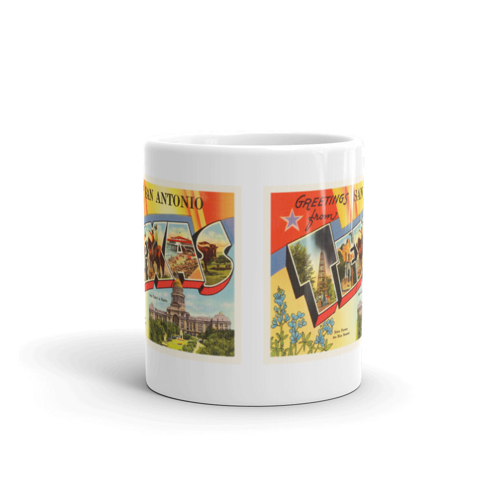 Mug – San Antonio TX #2 Greetings From Texas Big Large Letter Postcard Retro Travel Gift Souvenir Coffee or Tea Cup - American Yesteryear