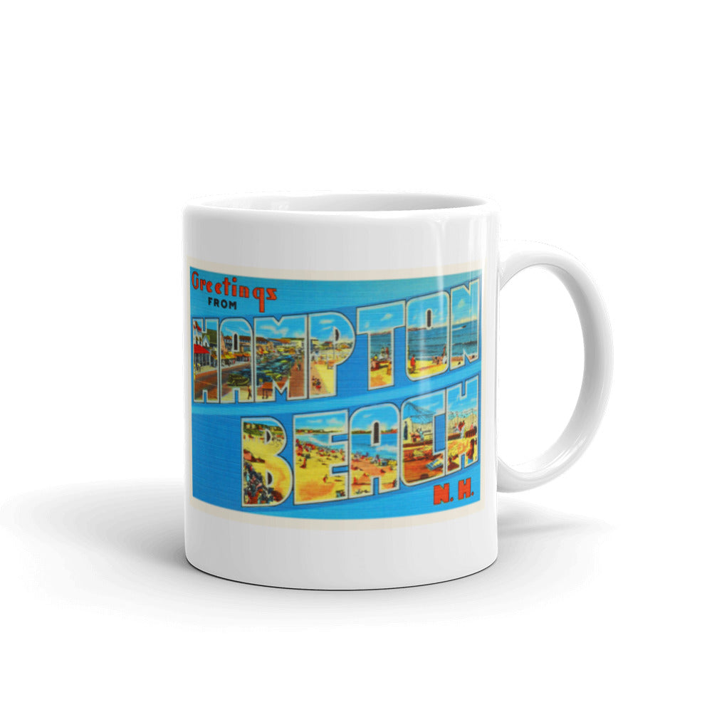 Mug – Hampton Beach NH Greetings From New Hampshire Big Large Letter Postcard Retro Travel Gift Souvenir Coffee or Tea Cup - American Yesteryear