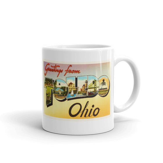 Mug – Toledo OH Greetings From Ohio Big Large Letter Postcard Retro Travel Gift Souvenir Coffee or Tea Cup