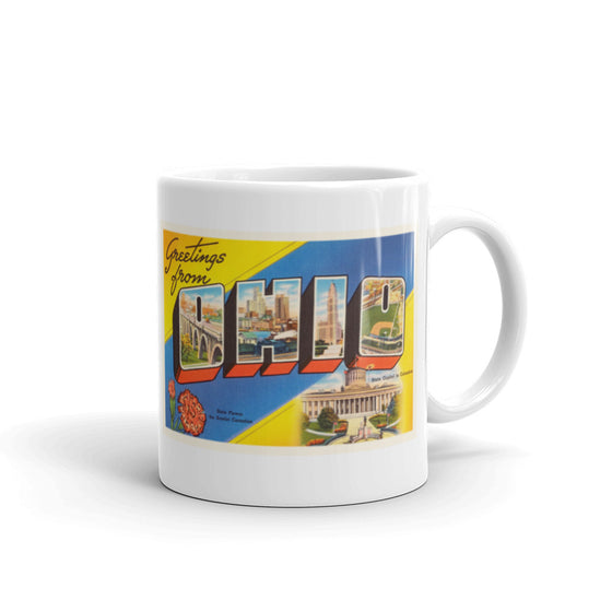 Mug – State of Ohio Greetings From OH Big Large Letter Postcard Retro Travel Gift Souvenir Coffee or Tea Cup