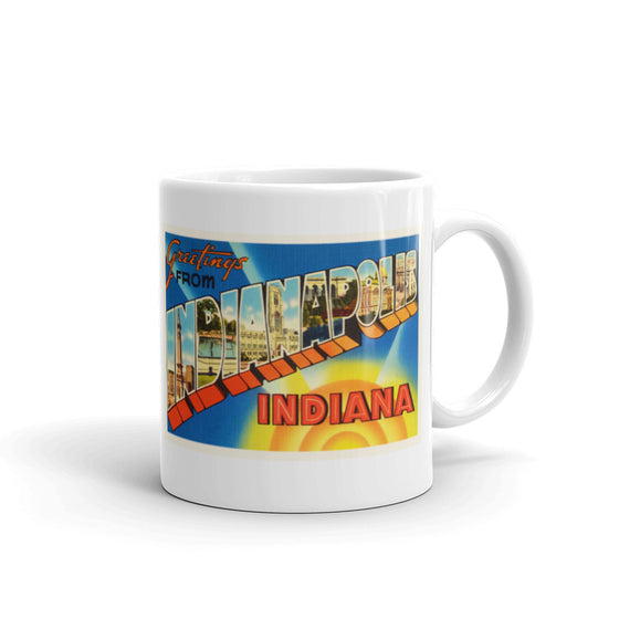 Mug – Indianapolis IN Greetings From Indiana Big Large Letter Postcard Retro Travel Gift Souvenir Coffee or Tea Cup - American Yesteryear