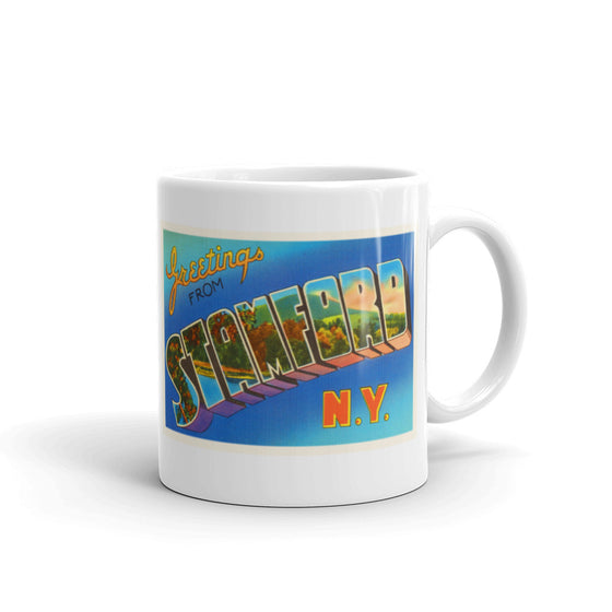 Mug – Stamford NY Greetings From New York Big Large Letter Postcard Retro Travel Gift Souvenir Coffee or Tea Cup