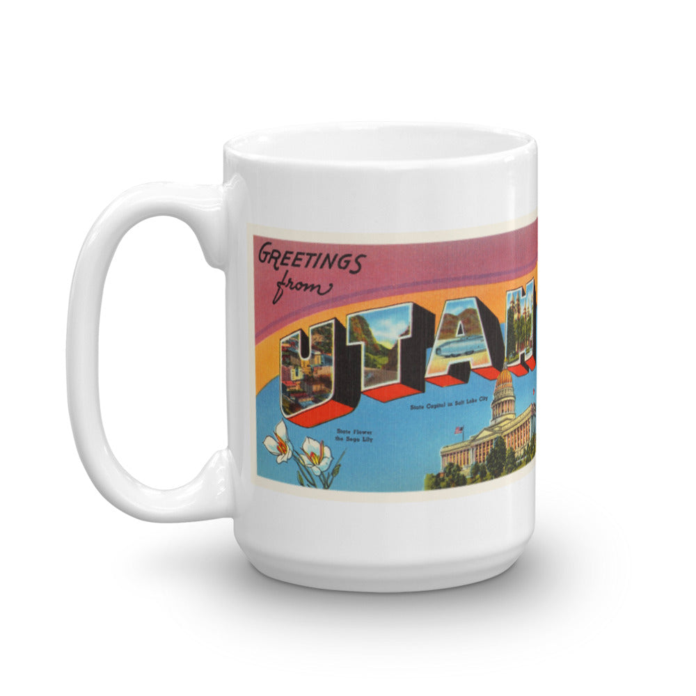 Mug – State of Utah Greetings From UT Big Large Letter Postcard Retro Travel Gift Souvenir Coffee or Tea Cup - American Yesteryear
