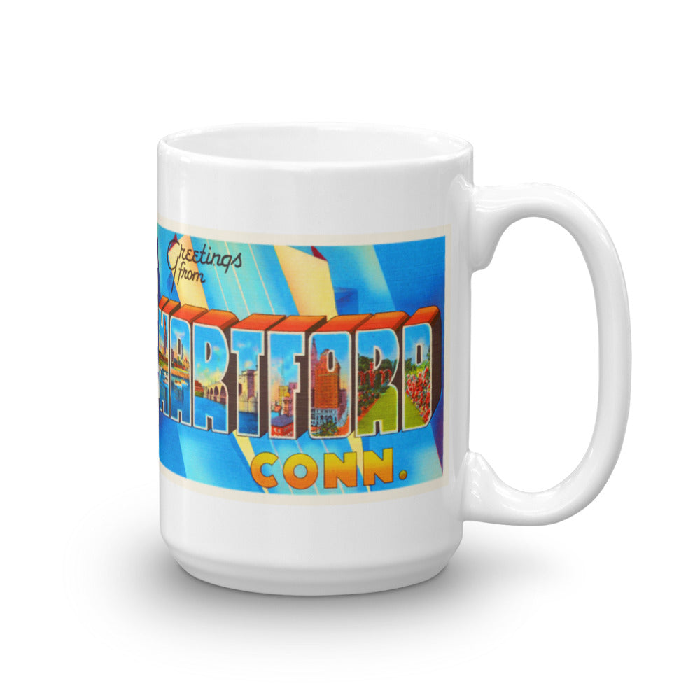 Mug – Hartford CT Greetings From Connecticut Big Large Letter Postcard Retro Travel Gift Souvenir Coffee or Tea Cup - American Yesteryear