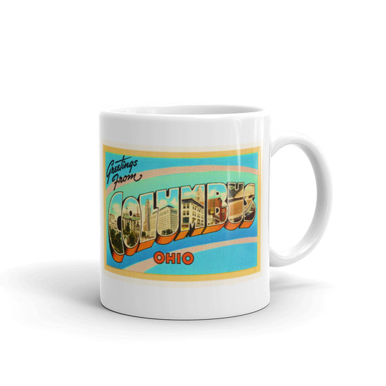 Mug – Columbus OH Greetings From Ohio Big Large Letter Postcard Retro Travel Gift Souvenir Coffee or Tea Cup