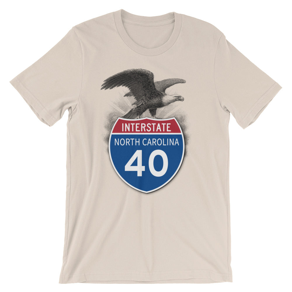 North Carolina NC I-40 Highway Interstate Shield TShirt Tee - American Yesteryear