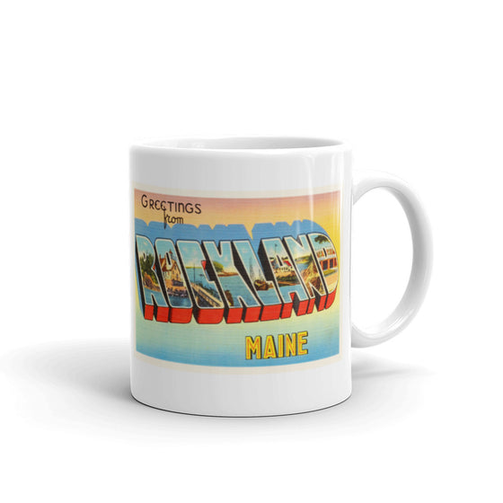 Mug – Rockland ME Greetings From Maine Big Large Letter Postcard Retro Travel Gift Souvenir Coffee or Tea Cup