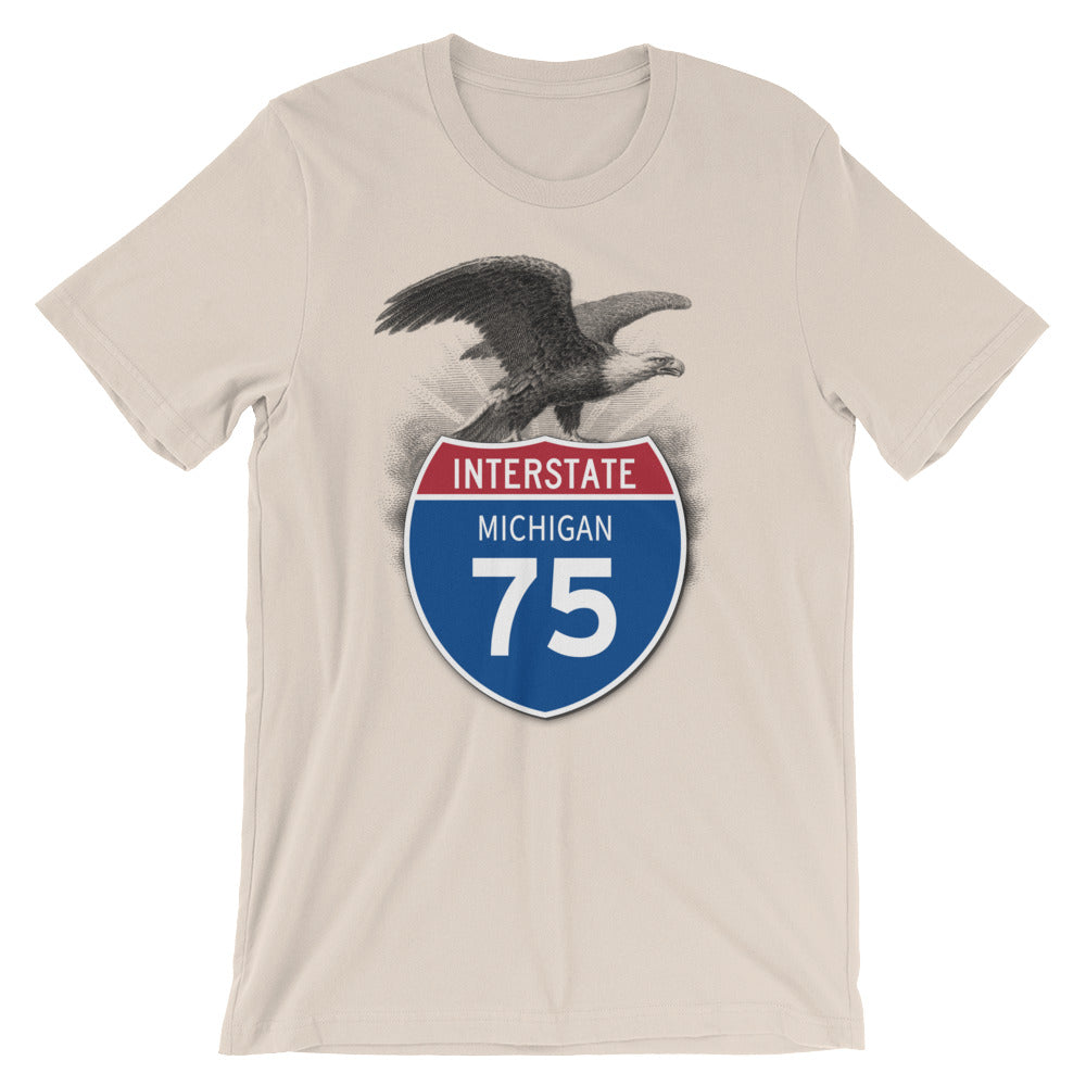Michigan MI I-75 Highway Interstate Shield Tshirt Tee - American Yesteryear