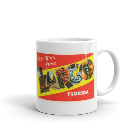 Mug – Largo FL Greetings From Florida Big Large Letter Postcard Retro Travel Gift Souvenir Coffee or Tea Cup - American Yesteryear