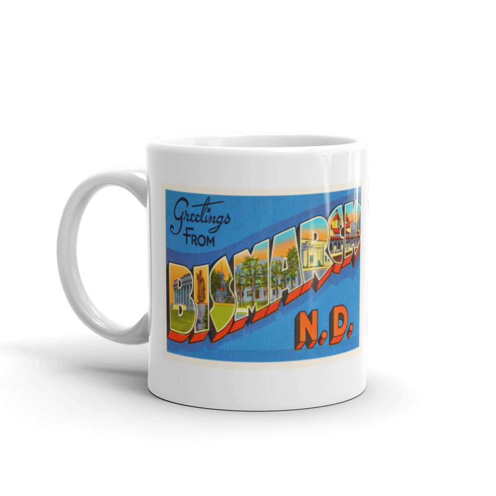 Mug – Bismarck ND Greetings From North Dakota Big Large Letter Postcard Retro Travel Gift Souvenir Coffee or Tea Cup - American Yesteryear