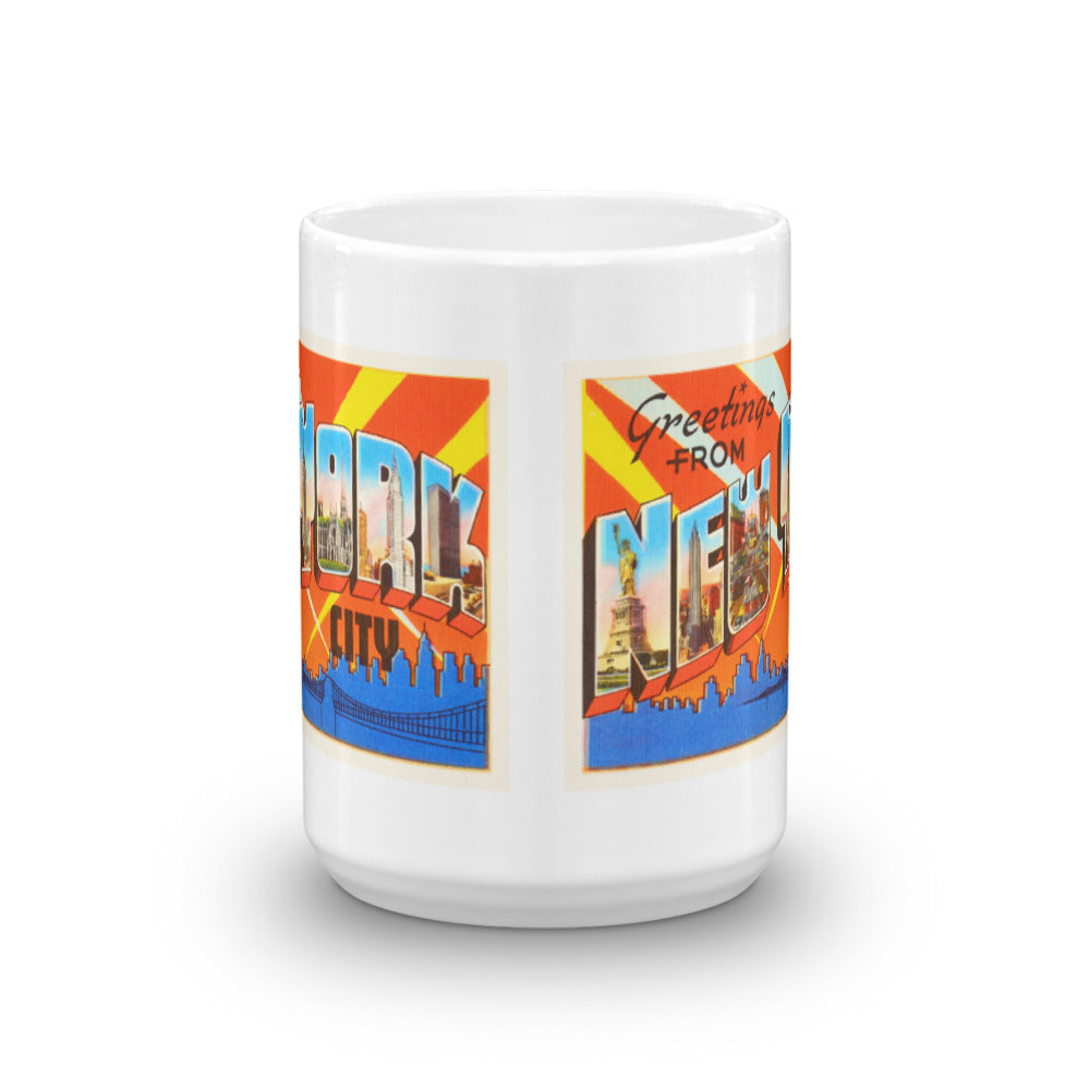 Mug – New York City NY Greetings From New York Big Large Letter Postcard Retro Travel Gift Souvenir Coffee or Tea Cup - American Yesteryear