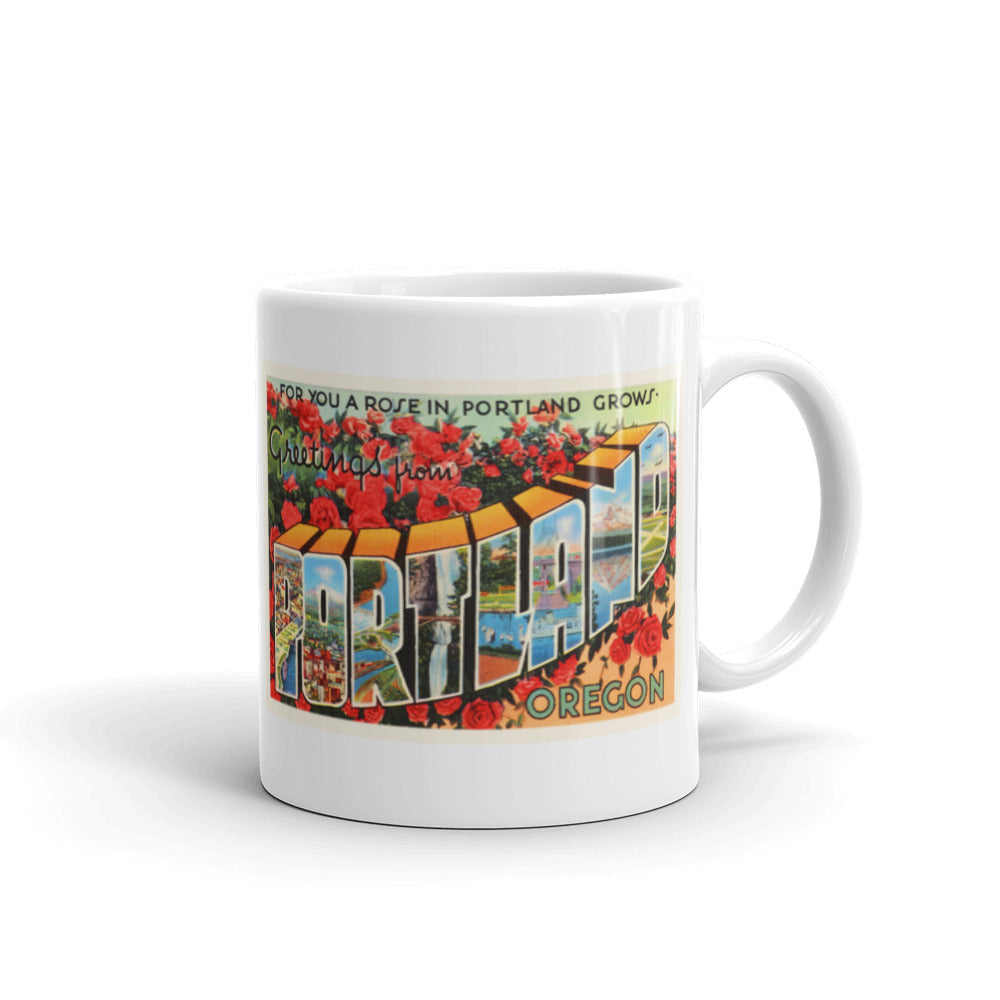 Mug – Portland OR Greetings From Oregon Big Large Letter Postcard Retro Travel Gift Souvenir Coffee or Tea Cup - American Yesteryear