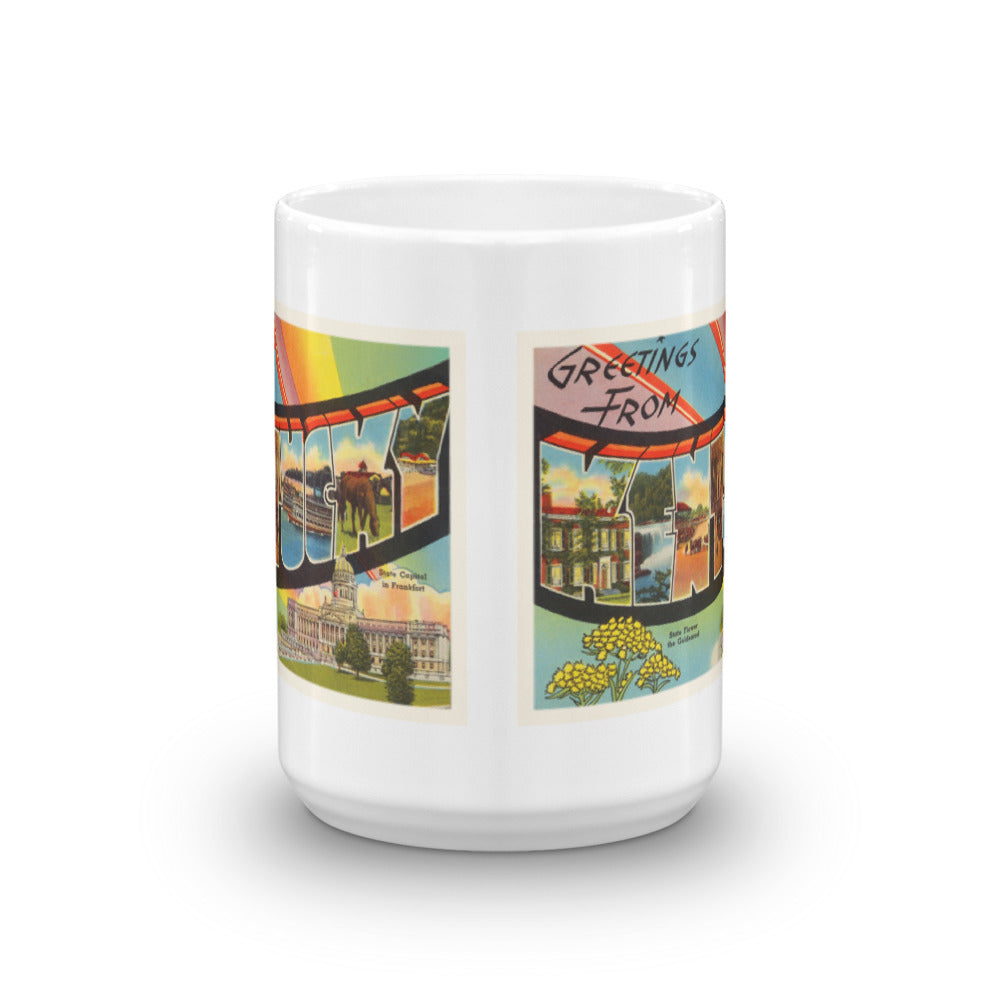 Mug – State of Kentucky Greetings From KY Big Large Letter Postcard Retro Travel Gift Souvenir Coffee or Tea Cup - American Yesteryear