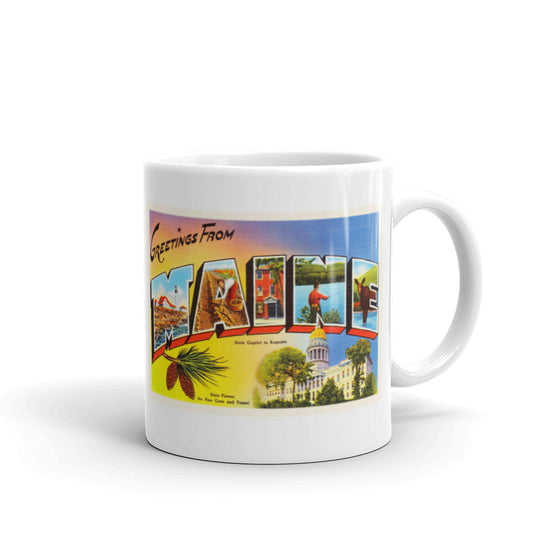 Mug – State of Maine Greetings From ME Big Large Letter Postcard Retro Travel Gift Souvenir Coffee or Tea Cup