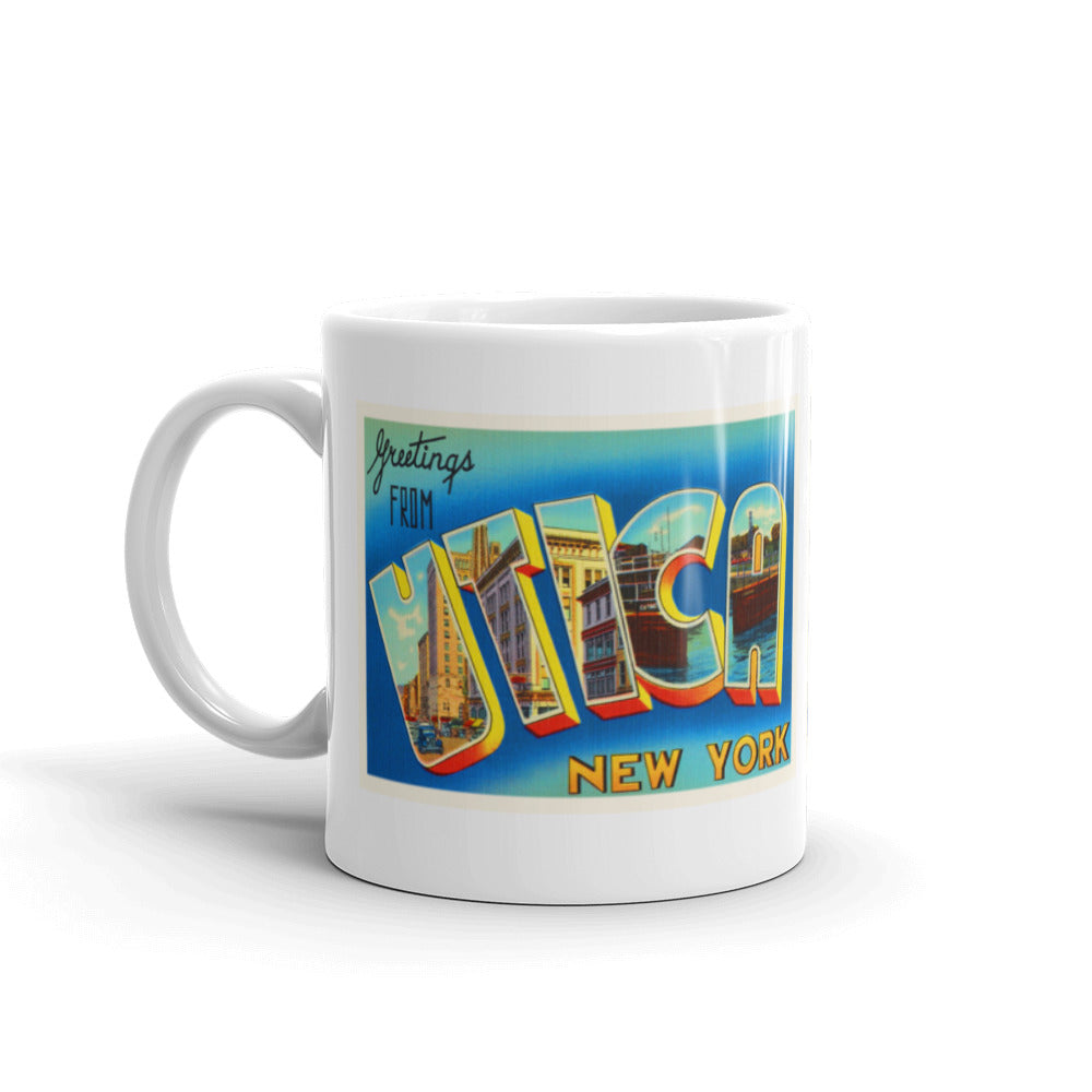 Mug – Utica NY Greetings From New York Big Large Letter Postcard Retro Travel Gift Souvenir Coffee or Tea Cup - American Yesteryear