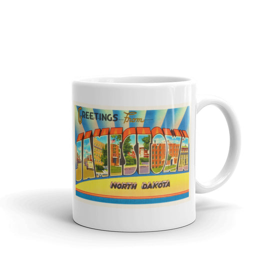 Mug – Jamestown ND Greetings From North Dakota Big Large Letter Postcard Retro Travel Gift Souvenir Coffee or Tea Cup - American Yesteryear