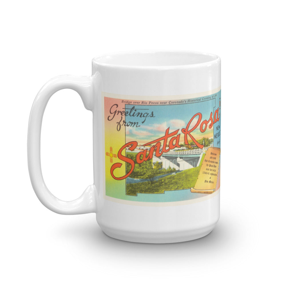 Mug – Santa Rosa NM Greetings From New Mexico Big Large Letter Postcard Retro Travel Gift Souvenir Coffee or Tea Cup - American Yesteryear