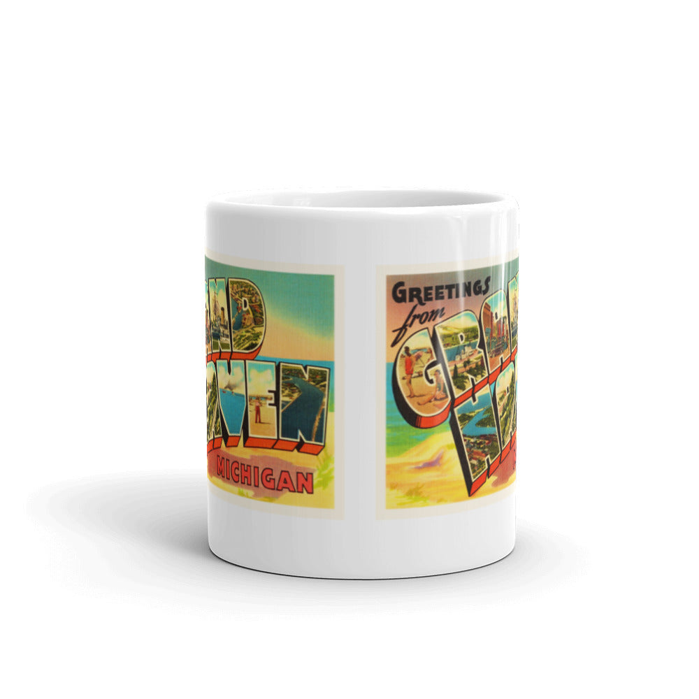 Mug – Grand Haven MI Greetings From Michigan Big Large Letter Postcard Retro Travel Gift Souvenir Coffee or Tea Cup - American Yesteryear