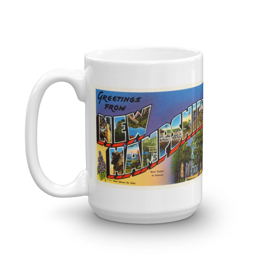 Mug – State of New Hampshire Greetings From NH Big Large Letter Postcard Retro Travel Gift Souvenir Coffee or Tea Cup - American Yesteryear