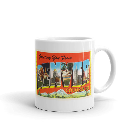 Mug – Denver CO Greetings From Colorado Big Large Letter Postcard Retro Travel Gift Souvenir Coffee or Tea Cup - American Yesteryear