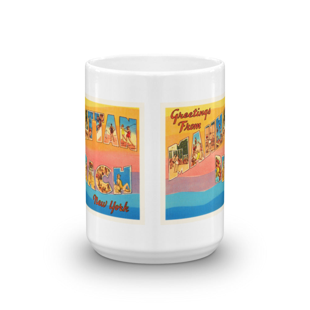 Mug – Manhattan Beach NY Greetings From New York Big Large Letter Postcard Retro Travel Gift Souvenir Coffee or Tea Cup - American Yesteryear