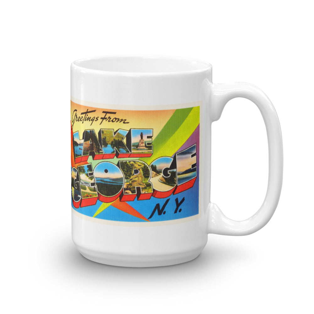 Mug – Lake George NY Greetings From New York Big Large Letter Postcard Retro Travel Gift Souvenir Coffee or Tea Cup - American Yesteryear