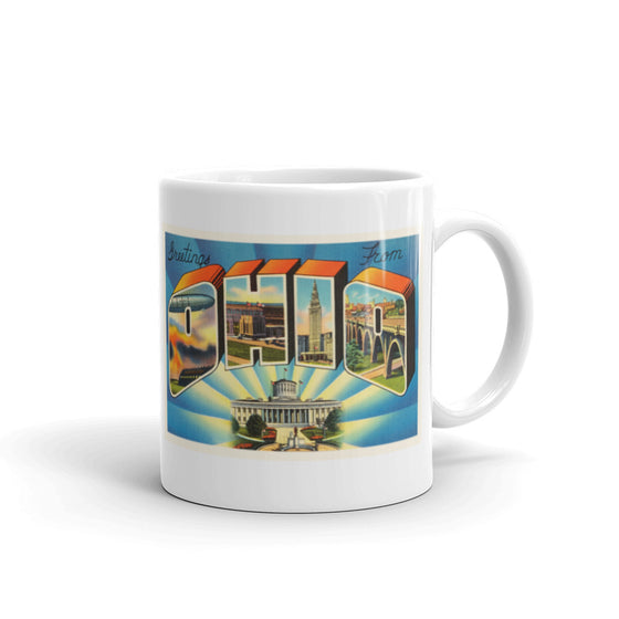 Mug – State of Ohio #2 Greetings From OH Big Large Letter Postcard Retro Travel Gift Souvenir Coffee or Tea Cup