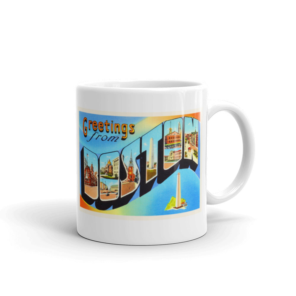 Mug – Boston MA Greetings From Massachusetts Big Large Letter Postcard Retro Travel Gift Souvenir Coffee or Tea Cup - American Yesteryear