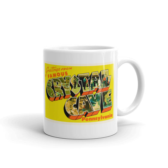 Mug – Crystal Cave PA Greetings From Pennsylvania Big Large Letter Postcard Retro Travel Gift Souvenir Coffee or Tea Cup - American Yesteryear