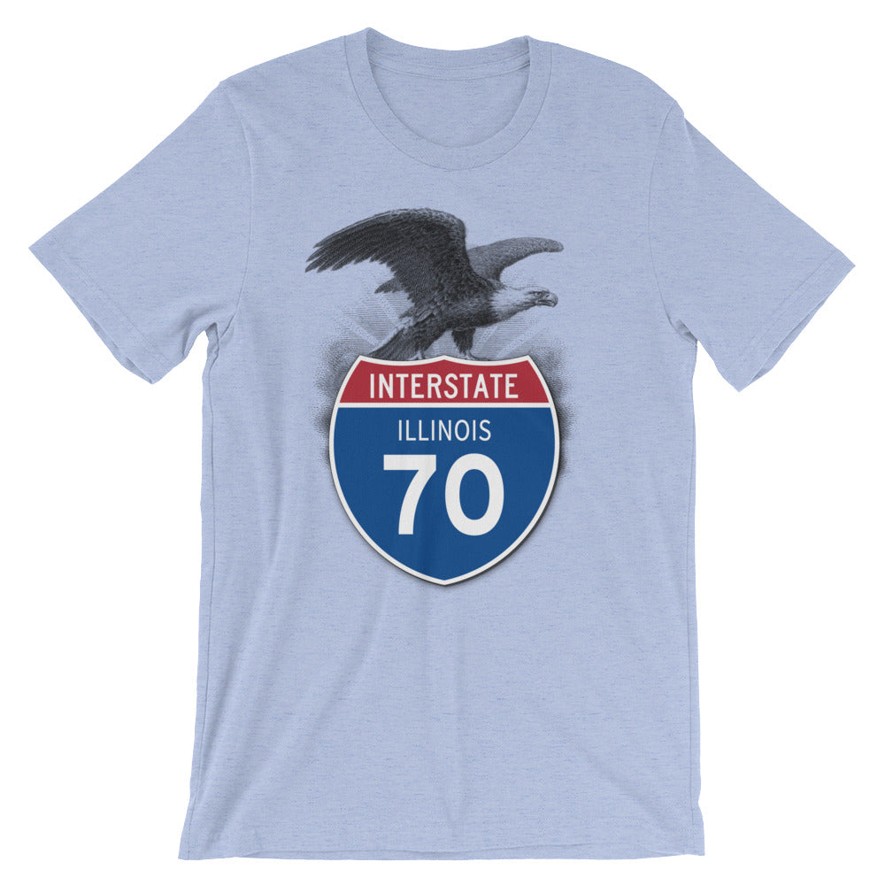 Illinois IL I-70 Highway Interstate Shield T-Shirt Tee - American Yesteryear