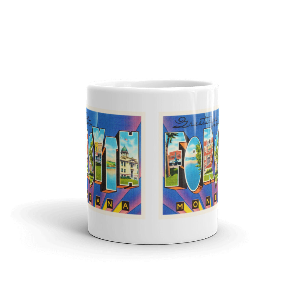 Mug – Forsyth MT Greetings From Montana Big Large Letter Postcard Retro Travel Gift Souvenir Coffee or Tea Cup - American Yesteryear