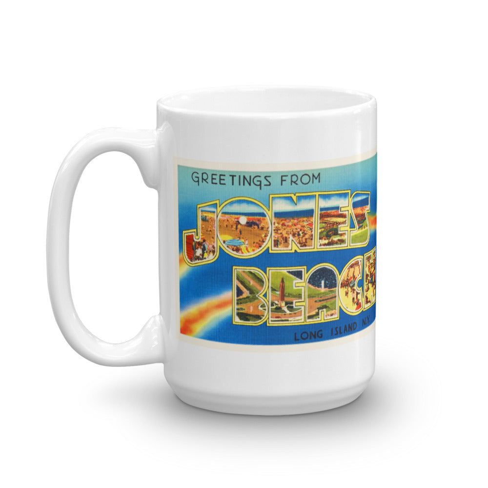 Mug – Jones Beach NY Greetings From New York Big Large Letter Postcard Retro Travel Gift Souvenir Coffee or Tea Cup - American Yesteryear