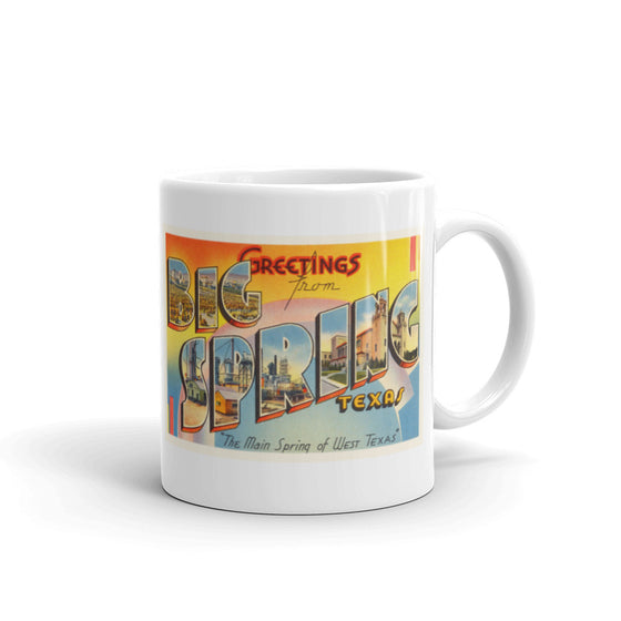 Mug – Big Spring TX Greetings From Texas Big Large Letter Postcard Retro Travel Gift Souvenir Coffee or Tea Cup - American Yesteryear