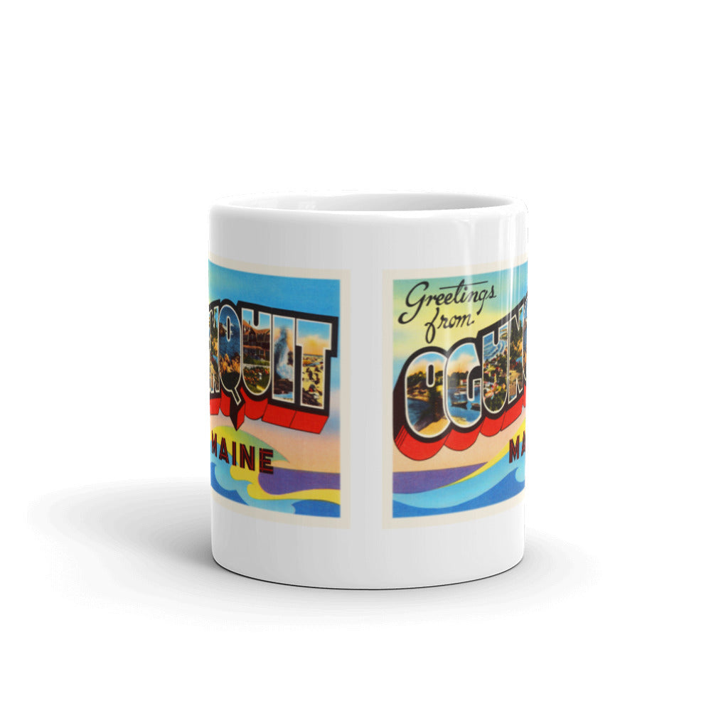 Mug – Ogunquit ME Greetings From Maine Big Large Letter Postcard Retro Travel Gift Souvenir Coffee or Tea Cup - American Yesteryear