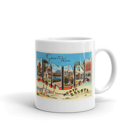 Mug – Mandan ND Greetings From North Dakota Big Large Letter Postcard Retro Travel Gift Souvenir Coffee or Tea Cup - American Yesteryear