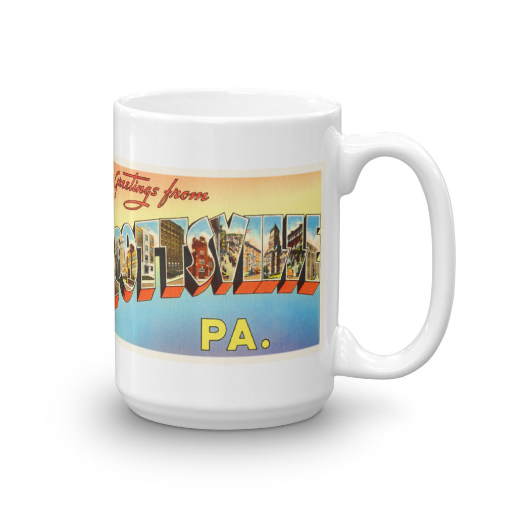 Mug – Pottsville PA Greetings From Pennsylvania Big Large Letter Postcard Retro Travel Gift Souvenir Coffee or Tea Cup - American Yesteryear