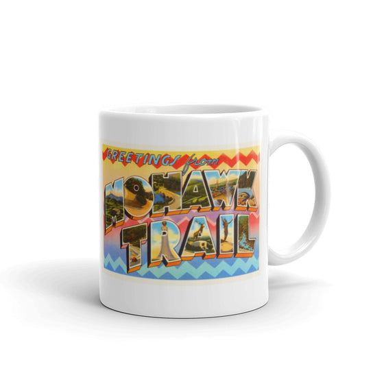 Mug – Mohawk Trail MA Greetings From Massachusetts Big Large Letter Postcard Retro Travel Gift Souvenir Coffee or Tea Cup - American Yesteryear