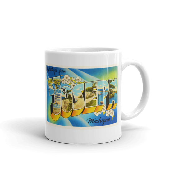 Mug – St Joseph MI Greetings From Michigan Big Large Letter Postcard Retro Travel Gift Souvenir Coffee or Tea Cup