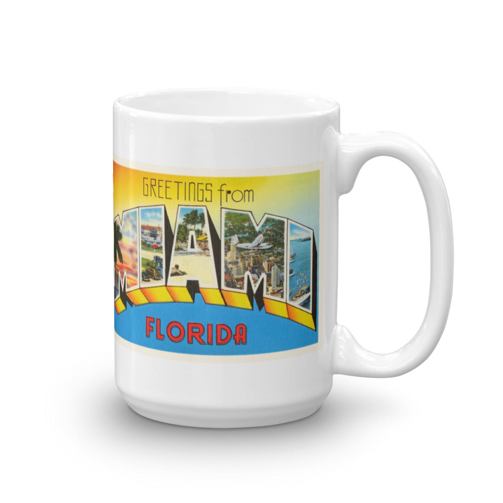 Mug – Miami FL Greetings From Florida Big Large Letter Postcard Retro Travel Gift Souvenir Coffee or Tea Cup - American Yesteryear