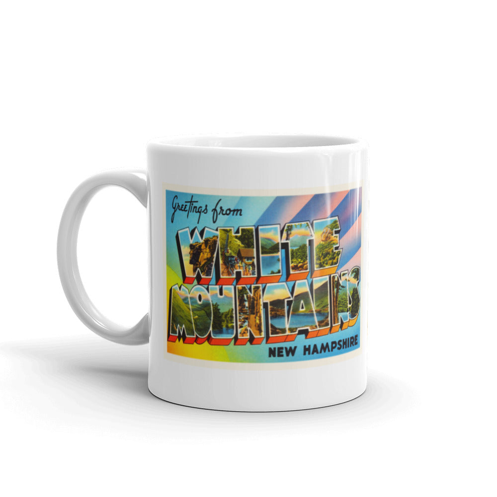 Mug – White Mountains NH Greetings From New Hampshire Big Large Letter Postcard Retro Travel Gift Souvenir Coffee or Tea Cup - American Yesteryear