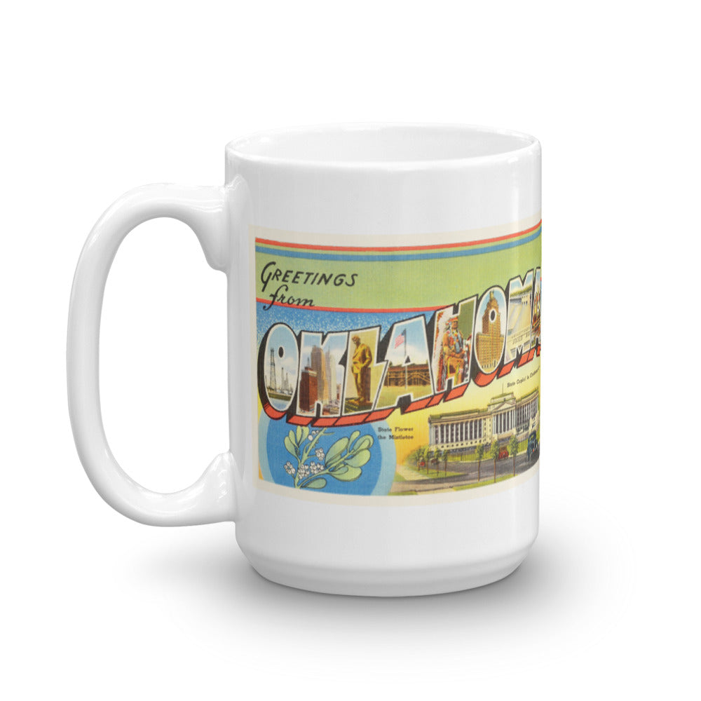 Mug – State of Oklahoma Greetings From OK Big Large Letter Postcard Retro Travel Gift Souvenir Coffee or Tea Cup - American Yesteryear