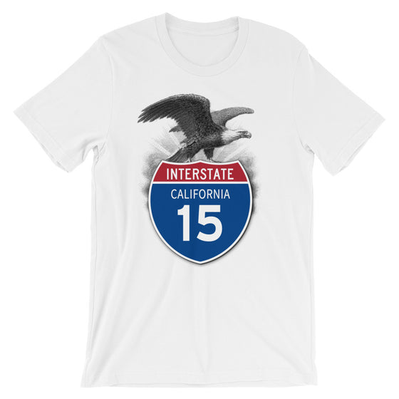 California CA I-15 Highway Interstate Shield T-Shirt Tee - American Yesteryear