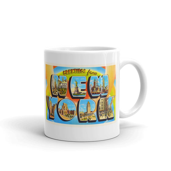 Mug – New York City NY #2 Greetings From New York Big Large Letter Postcard Retro Travel Gift Souvenir Coffee or Tea Cup - American Yesteryear