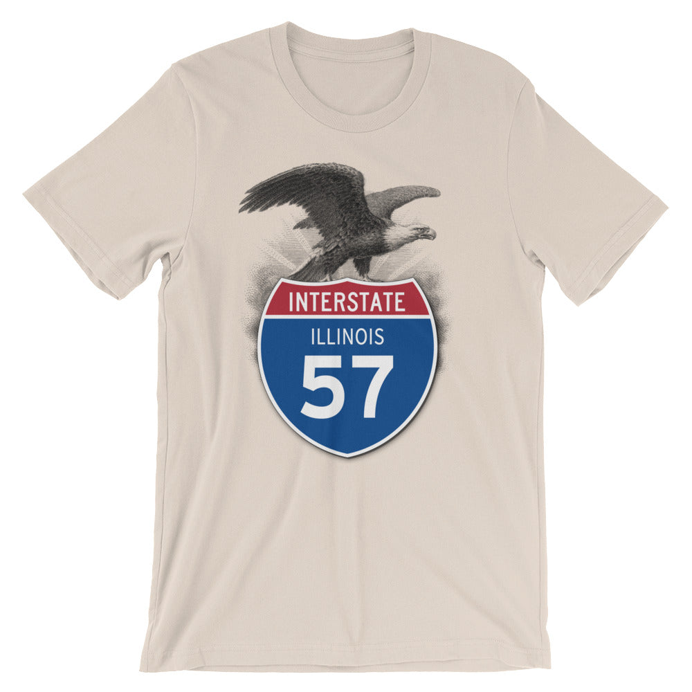 Illinois IL I-57 Highway Interstate Shield T-Shirt Tee - American Yesteryear
