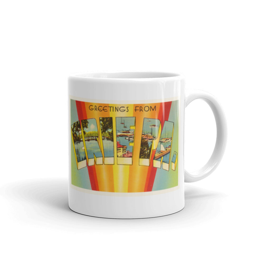 Mug – Erie PA Greetings From Pennsylvania Big Large Letter Postcard Retro Travel Gift Souvenir Coffee or Tea Cup - American Yesteryear