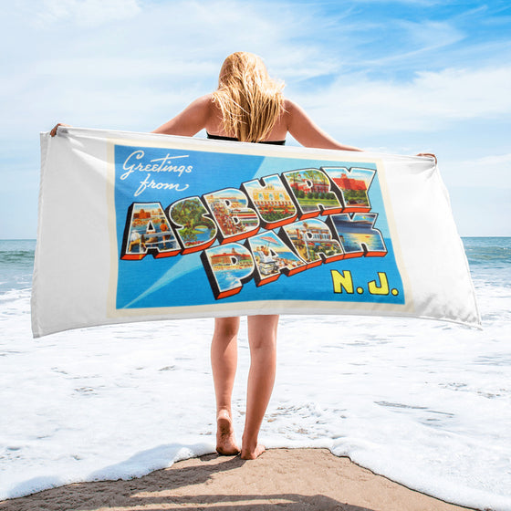 Beach Towel - Asbury Park New Jersey NJ Big Large Letter Postcard Souvenir - American Yesteryear