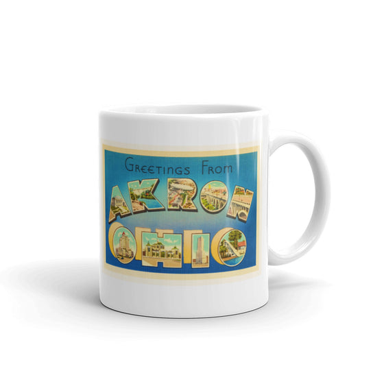 Mug – Akron OH Greetings From Ohio Big Large Letter Postcard Retro Travel Gift Souvenir Coffee or Tea Cup - American Yesteryear