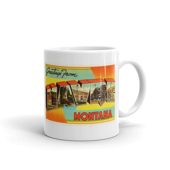 Mug – Havre MT Greetings From Montana Big Large Letter Postcard Retro Travel Gift Souvenir Coffee or Tea Cup - American Yesteryear