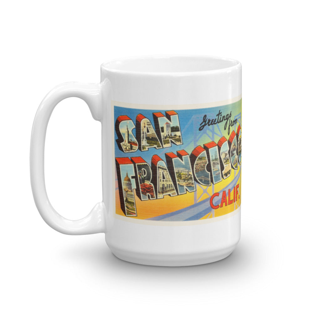 Mug – San Francisco CA Greetings From California Big Large Letter Postcard Retro Travel Gift Souvenir Coffee or Tea Cup - American Yesteryear